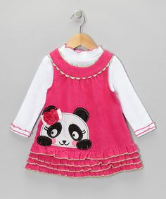 Take a look at this White Mock Neck Top & Pink Panda Jumper - Infant, Toddler & Girls by Nannette on #zulily today!