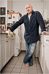 """At home with Tom Colicchio, the founder and co-owner of the Craft restaurants and head judge of the series """"Top Chef"""" on Bravo. Manhattan Restaurants, Great Restaurants, Bravo Tv, New York Times Magazine, Magazine Images, Barefoot Men, Mature Men, Guy Pictures, Long Pants"""