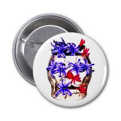 Skull and Hyacinth Flowers Pinback Buttons