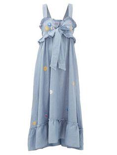 Thierry Colson Valentina Floral-embroidered Cotton Maxi Dress In Blue Print Beach Wear Dresses, Cute Dresses, Cute Outfits, Kpop Fashion, Fashion Outfits, Rajputi Dress, Designer Bridal Lehenga, Cotton Dresses, Designer Dresses