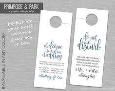 Wedding Do Not Disturb Tags Printable // Welcome Note and Do