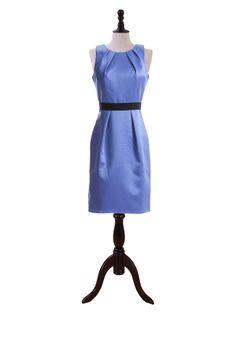 Nobel Knee Length Satin Dress With Scoop Neckline And Black Belt  A-line/Princess, Knee Length, Scoop, Natural, Sleeveless, Zipper, Satin, Spring, Summer, Fall, Winter,