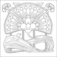 Art nouveau flower. Colouring page, pattern for embroidery, quilting etc.
