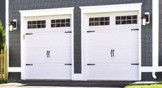 White steel garage doors from Wayne Dalton