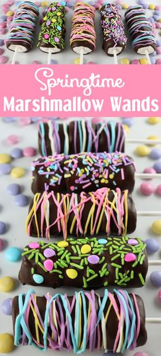 Springtime Marshmallow Wands  ...♥♥... So easy to make and you won't believe how delicious they are. They would be great as a special Easter Dessert, a Mother's Day treat or a Baby Shower dessert. Follow us for more fun Easter Food ideas.