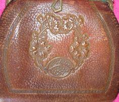 Vintage 20's PURSE Brown Leather ARTS & CRAFTS Tooled Nouveau   eBay