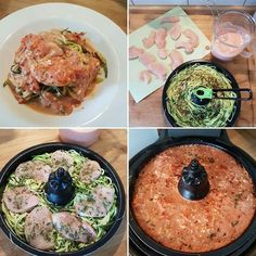 Low Carb - Hähnchen-Ministeaks auf Zucchinistreifen mit Tomaten-Käsesoße 2x Zucchini in Zoodles oder feine Streifen schneiden und auf der Grillplatte drapieren. 10 Minuten kreiseln lassen. In der Zwischenzeit eine Dose stückige Tomaten mit je 2 EL Frischkäse- und Hüttenkäse verrühren. Würzen mit Pfeffer Salz und Chiliflocken . Hähnchen-Ministeaks waschen trocken tupfen und auf die Zucchini legen. Mit getrocknetem Bärlauch bestreuen. Die Soße über die Zucchini und Hähnchen gießen und 12 ...