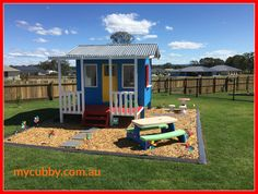 What a beauty! An colourful & fun play area. This is the first time we've seen a classic cubby painted so bright and colourful and it looks great!  #MyCubby #CubbyHouse #Cubby #Cubbies #ClassicCubby #Christmas #ChristmasLayby #Christmas2016