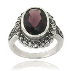 Sterling Silver Marcasite and Glass Oval Ring, Size 5 Amazon Curated Collection. $33.00. The natural properties and composition of mined gemstones define the unique beauty of each piece. The image may show slight differences to the actual stone in color and texture.. Gemstones may have been treated to improve their appearance or durability and may require special care.. Save 66%!