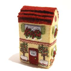 Miniature Soap Box House Art Object With Silk Ribbon Embroidered Flowers, by TwoLeftHands