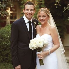 Annie Meyers-Shyer, the daughter of the cowriters of quintessential wedding movie Father of the Bride, marries her leading man Robby Koch in an intimate garden wedding in her mother's Pacific Palisades backyard.