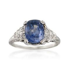 Vintage 4.10 Carat Sapphire and .15 ct. t.w. Diamond Ring in Platinum #jewelry