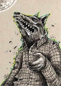 Bryan Collins ~ Werewolf original pen and ink drawing