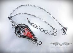 """""""Rosalynde"""" -- Rosetta Lace Pendant Necklace .999 Fine Silver w/ Faceted Garnets (3.5 ct tgw). Original design by Daryl Adams. **Currently Available**"""