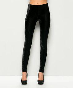 Look what I found on #zulily! Black Velvet Leggings #zulilyfinds
