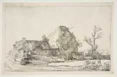 Cottages and Farm Buildings with a Man Sketching Rembrandt (Rembrandt van Rijn)  (Dutch, Leiden 1606–1669 Amsterdam) Date: ca. 1645 Medium: Etching Dimensions: sheet: 5 1/8 x 8 1/4 in. (13 x 21 cm) mount: 14 1/4 x 19 1/4 in. (36.2 x 48.9 cm) Classification: Prints Credit Line: Gift of Walter C. Baker, 1962 Accession Number: 62.664.1