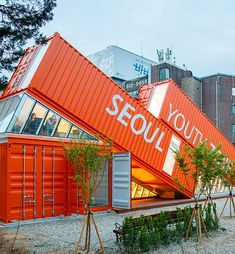 Shipping Container Homes & Buildings: Seoul Youth Zone Shipping Container Building, South Korea Container Office, Container Shop, Cargo Container, 40ft Shipping Container, Shipping Container Buildings, Shipping Containers, Container Restaurant, Building Design, South Korea