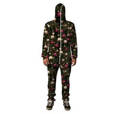 """belovedwear® presents the #ChristmasTree Hooded Jumpsuit. This """"all over"""" print hooded jumpsuit is made using a special sublimation technique to provide a vivid"""