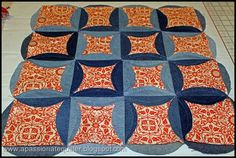 A Passionate Quilter: Denim Circle Pillow- Tutorial, Part 2 fabulous tutorial for a cathedral window style rag quilt
