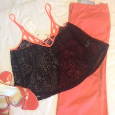 """Lush crop style cover up Black & bright orange. 20"""" measured from top of shoulder to hem, 12"""" neck to hem. 17"""" bust. Lush Tops Crop Tops"""