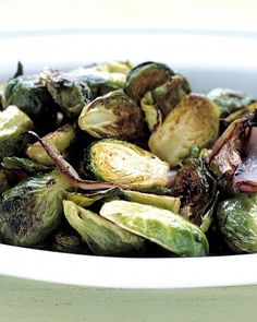Roasted Brussels Sprouts: Brussels sprouts and red onions are seasoned simply with olive oil, salt, and pepper, then roasted until caramelized and sweet. This easy Thanksgiving side dish takes only 10 minutes of prep, and is easily doubled for feeding a larger crowd.