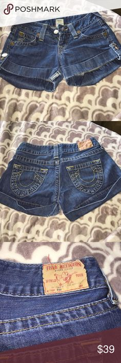 True Religion Shorts cute well taken care of true religion shorts! only flaw is where you btton the button it kinda tore a little bit because it got caught in something but does not affect the wear or look of these shorts at all!! sadly these got to small for me and i can't wear them anymore! True Religion Shorts