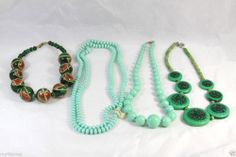 4 Necklaces Painted Beaded Chunky Jewelry Green & Mixed Color Elements
