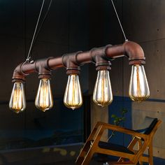 Pendant Lamp Industrial Steampunk Metal Pipe Vintage Pendant lights Rustic Counter Lamps E27 Hanging Light With 5pcs Bulbs(China (Mainland))