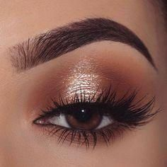 Gold Eye Makeup, Eye Makeup Steps, Makeup Eye Looks, Wedding Makeup For Brown Eyes, Makeup Looks For Brown Eyes, Natural Makeup For Brown Eyes, Natural Glam Makeup, Easy Eye Makeup, Gold And Brown Eye Makeup