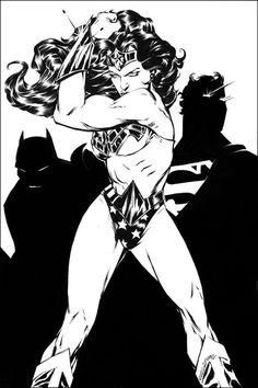 The Trinity - Elliot Fernandez Star Comics, Dc Comics, Dc Trinity, Wonder Woman Comic, Woman Sketch, Dark Horse, Art Sketchbook, Justice League, Super Powers