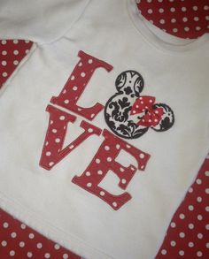 Mickey Minnie Mouse Valentines Day Love Long Sleeve Tshirt FREE SHIPPING and Personizatiion. $27.00, via Etsy.