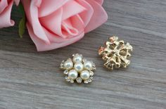 20 White Pearl Rhinestone Gold Embellishments by LovelyLittleTouch