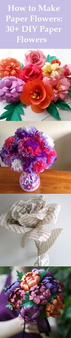 How to Make Paper Flowers: 30+ DIY Paper Flowers. Bring your garden indoors with beautiful blooms that will never wilt! These fun paper flower crafts are perfect for decorating your home or to give as gifts.