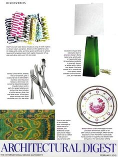 roma table lamp in architectural digest - we love the geometric shape and the emerald green glass base.  #pantone #emerald #green #2013