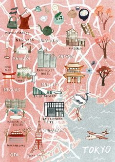 my latest map for virgin australia's Voyeur Magazine. working on this map made me want to see Tokyo in springtime… simply for the pink cherry tree blossom that lines the city streets and rivers. thanks again to Voyeur Mag for being completely lovely. Travel Maps, Travel Posters, Plan Ville, Tokyo Map, Travel Illustration, Flat Illustration, Map Design, City Maps, Plans