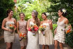 A Bright, Picturesque Wedding in Healdsburg | 7x7 - Caitlin + Trevor.  Designed by Lindsey Relyea of l'Relyea Events- Champagne bridesmaid dresses, Bright colorful flowers, lace bridal gown