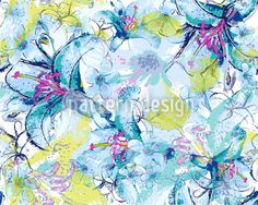 Seamless pattern with beautiful watercolored lilies in blue, designed by Sonja Sporrer-Hornfeck, available as a download vector file on patterndesigns.com