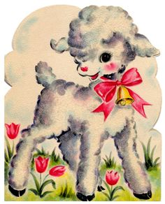 vintage easter card - cute little lamb
