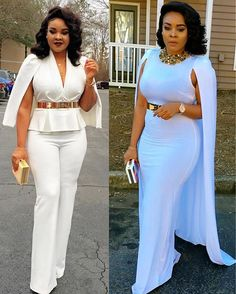 Which look is your favourite? Pant suit or dress? African Attire, African Wear, African Women, African Dress, White Outfits For Women, Suits For Women, Clothes For Women, African Print Pants, African Print Fashion