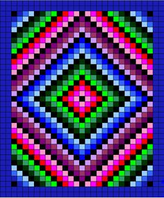 ATW Afghan pattern, totally pining this! Pixel Crochet, Crochet Quilt, Tapestry Crochet, Bead Loom Patterns, Beading Patterns, Cross Stitch Patterns, Crochet Patterns, Bargello Patterns, Bargello Quilts