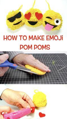 How to Make Emoji Pom Poms #kidscrafts #pompoms #emoji