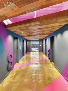 Cool office space color. Purple, wood, gray