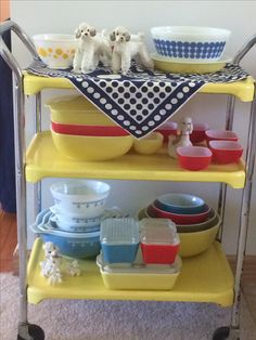 A cart of memories.  I have the 4 color nesting bowls on the bottom right.  My mother in law had the glass storage containers in front of them.
