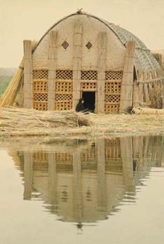 """Iraqi reed houses. """"They made columns from the thick, giant rushes and gather 30-40 of them together to make pillars, and interweave them for a skeleton frame. They added reed mats, and even the decoration on the front of the homes is fancy lattice work made of the reeds. There's no glass, no nails, no wood."""" Even the islands the houses rest on are made of compacted mud and rushes."""