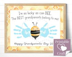 Diy For Kids, Gifts For Kids, Grandparents Day Cards, Preschool Crafts, Kid Crafts, Bee Wings, Teacher Discounts, Floral Printables, Handprint Art