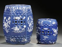 chinese blue and white garden seats
