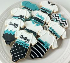 Aqua Baby Onesie Decorated Cookies, gender neutral polka dots chevrons in black and white, perfect for your baby shower favor