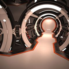 Hight poly model of Sci Fi Futuristic Spaceship Corridor interior based on my concept art. Spaceship Interior, Futuristic Interior, Spaceship Art, Spaceship Design, Spaceship Concept, Futuristic Design, Futuristic Architecture, Minimalist Architecture, Places