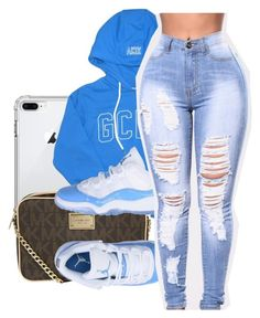 A fashion look from October 2017 featuring hooded long sleeve shirt, plus size ripped jeans and purse shoulder bag. Browse and shop related looks. Swag Outfits For Girls, Lit Outfits, Jordan Outfits, Teenage Girl Outfits, Cute Outfits For School, Cute Casual Outfits, Teen Fashion Outfits, Teenager Outfits, Dope Outfits