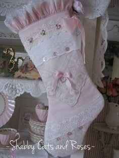 Stocking~Pink Rose~Buttons~Rhinestone Heart
